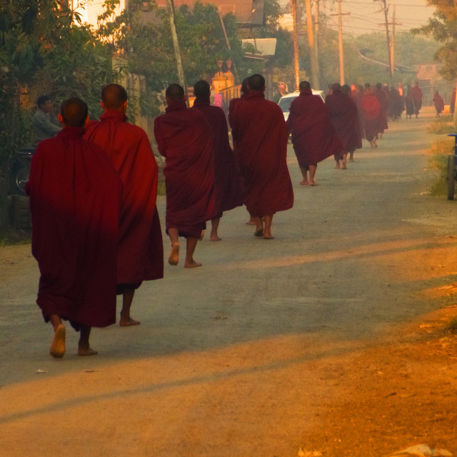 """Monks in the Morning"" stock image"