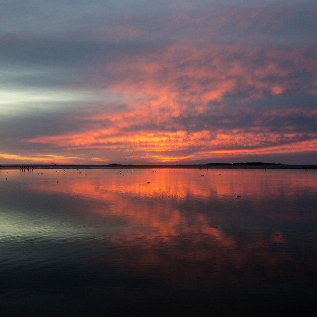 """West Kirby Sunset Reflection"" stock image"