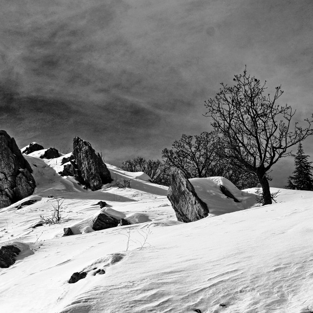 """Rocks in the snow"" stock image"