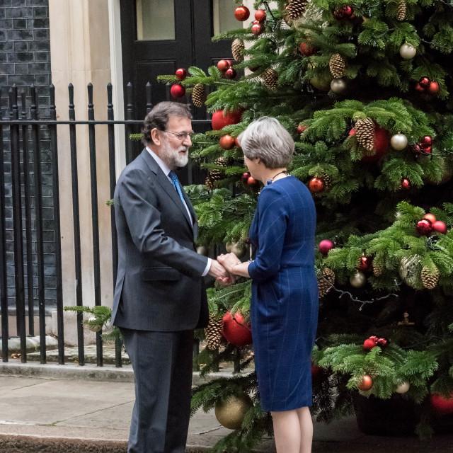"""Spanish Prime Minister Rajoy visits Theresa May"" stock image"