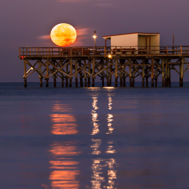 """Moon Setting over Redinton Long Pier, onthe Gulf of MExico, Florida"" stock image"