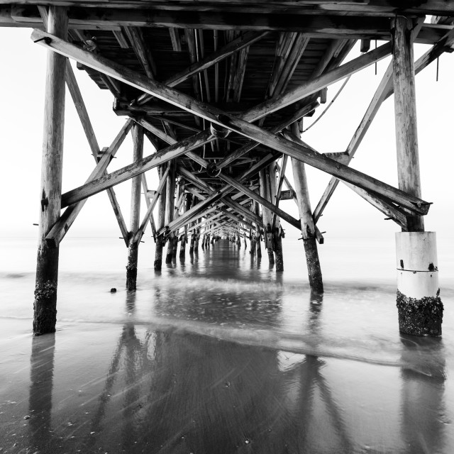 """Wooden Pier in Black and White, the Redington Long Pier, on the Gulf of..."" stock image"
