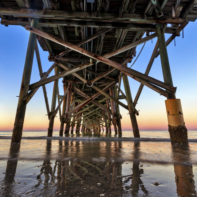 """Sunrise and a fishing pier in Florida"" stock image"
