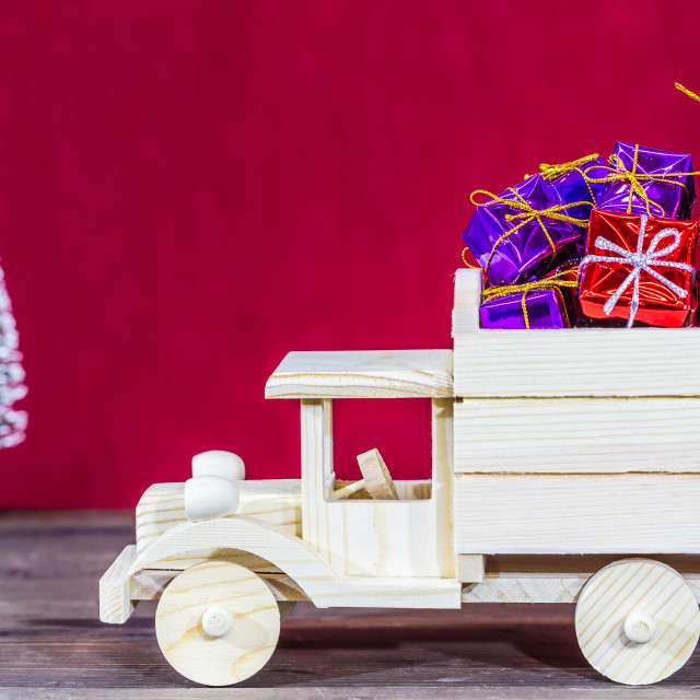 """Truck loaded with gifts"" stock image"