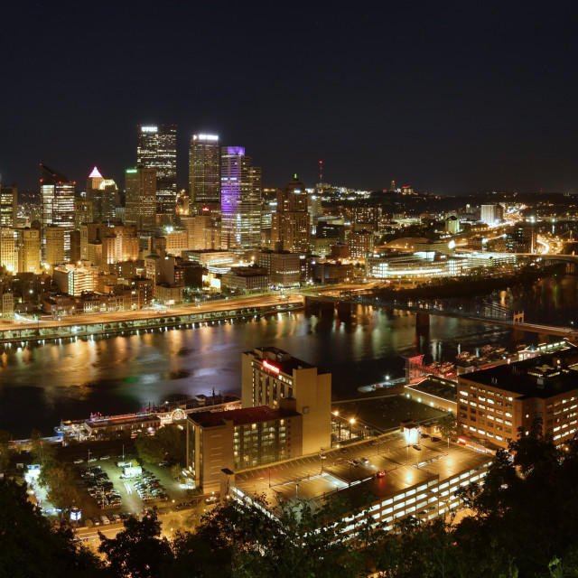 """Pittsburgh at Night"" stock image"