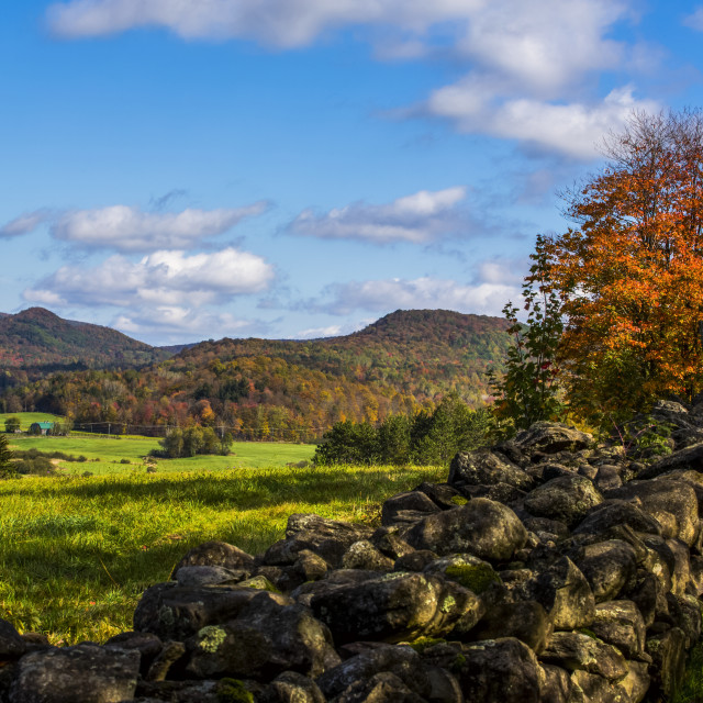 """Landscape of autumn coloured forests on the hills and a stone wall across a..."" stock image"