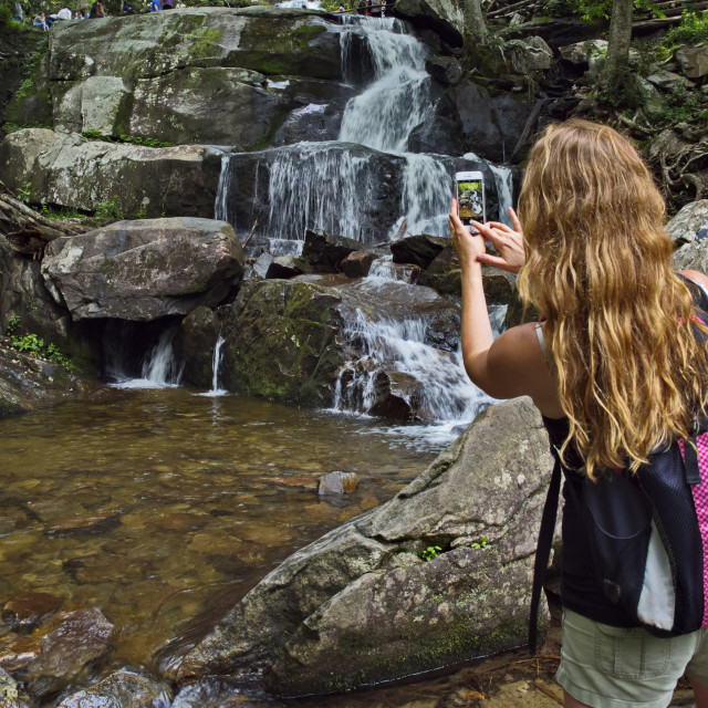 """A woman takes a cell phone picture of Laurel Falls on a summer day in Great..."" stock image"
