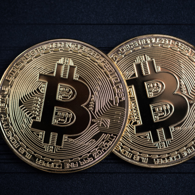 """Bitcoin golden coins"" stock image"