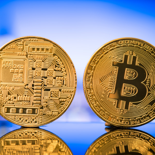 """""""Bitcoin close up two sides"""" stock image"""