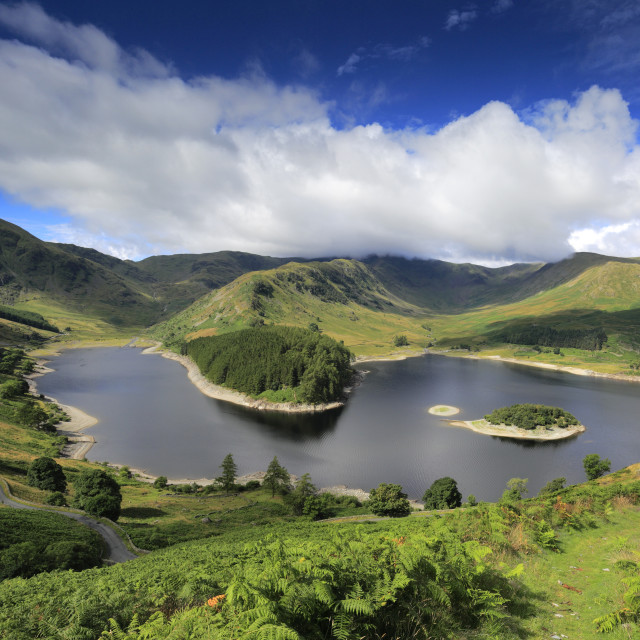 """""""Summer view over Haweswater reservoir, Mardale valley, Lake District National..."""" stock image"""