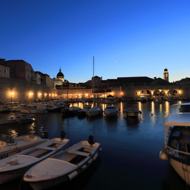"""Boats in the Old Port of Dubrovnik at night, Dubrovnik-Neretva County,..."" stock image"