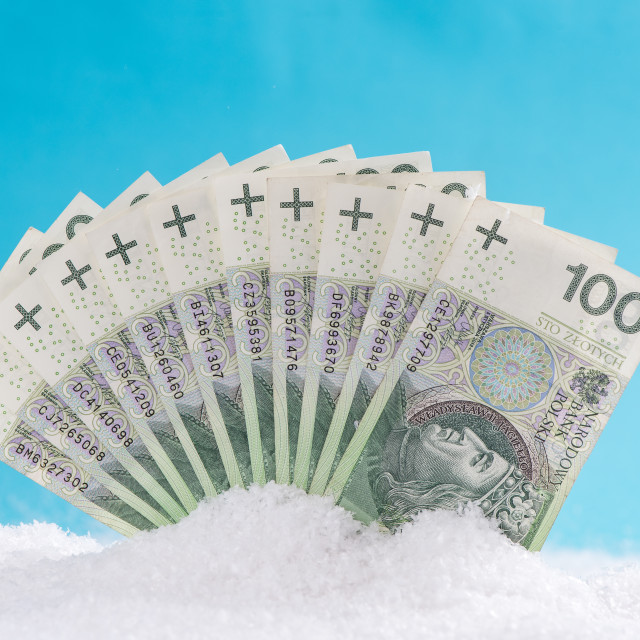 """""""Polish zloty notes, Christmas sale or Cyber Monday,Black Friday concept"""" stock image"""