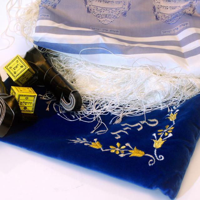 """Tifillin and tfillin bag"" stock image"
