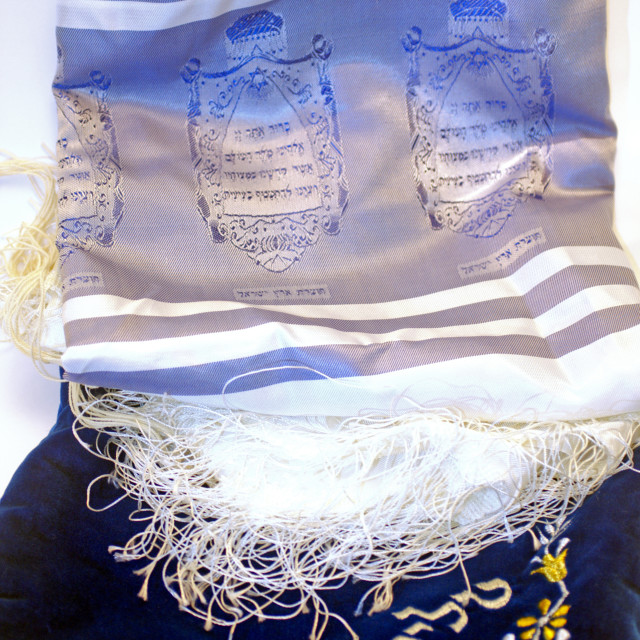 """""""Tallit and an elaborated decorated talit bag"""" stock image"""