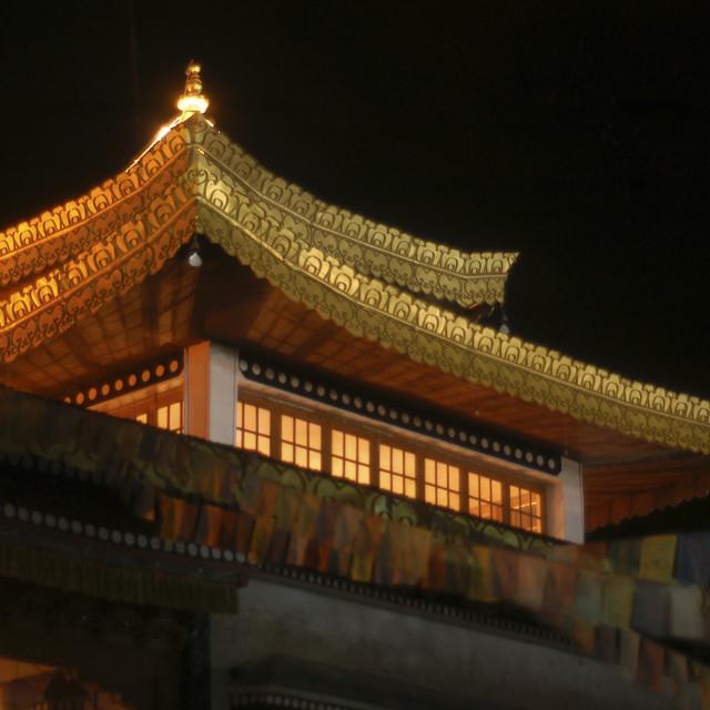 """Leh Monastery at night, Ladakh, India"" stock image"