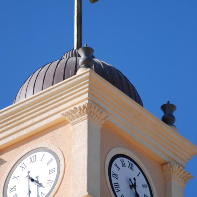"""Israel, Jaffa, Church steeple and clock tower"" stock image"