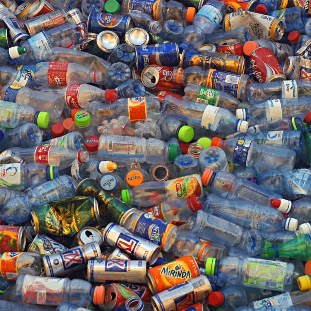 """""""Plastic bottle recycling bin"""" stock image"""