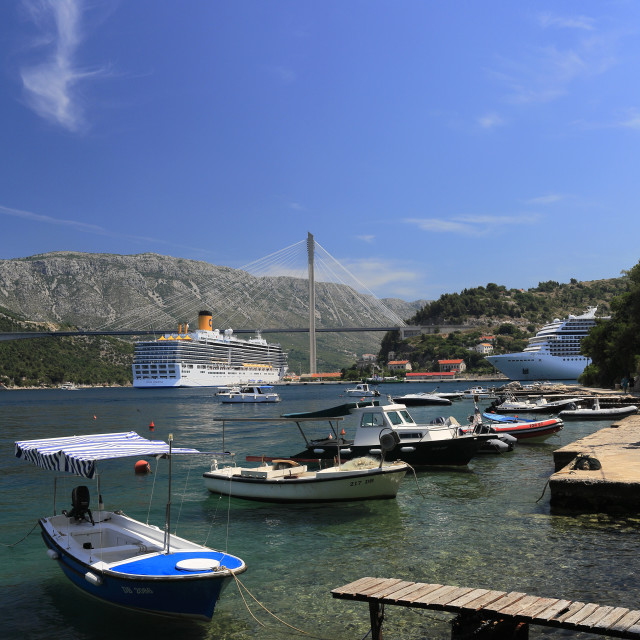 """Summer, boats in the Port of Gruz, Lapad town, Dubrovnik, Dubrovnik-Neretva..."" stock image"