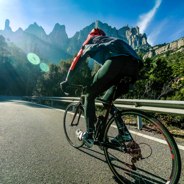 """Climbing Montserrat, Catalonia"" stock image"