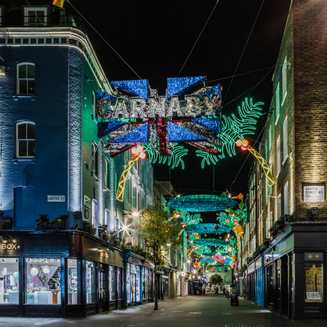 """Carnaby Street's Christmas Lights"" stock image"