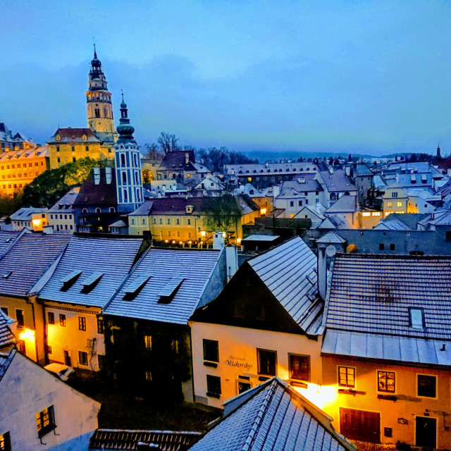 """Cesky Krumlov winter evening"" stock image"