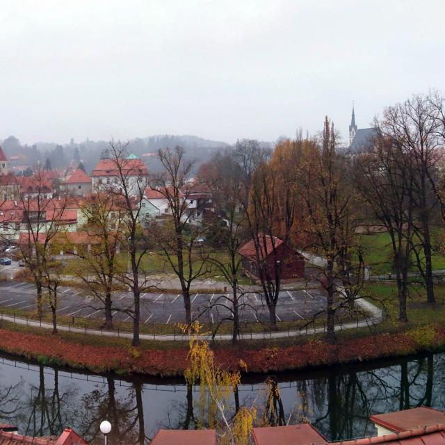 """""""Cesky Krumlov winter panorama"""" stock image"""