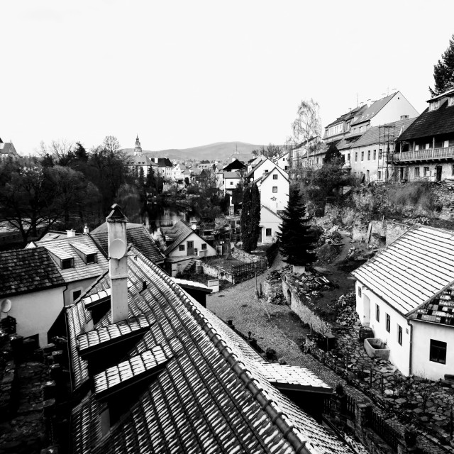 """Cesky Krumlov winter roofs, Black and White"" stock image"