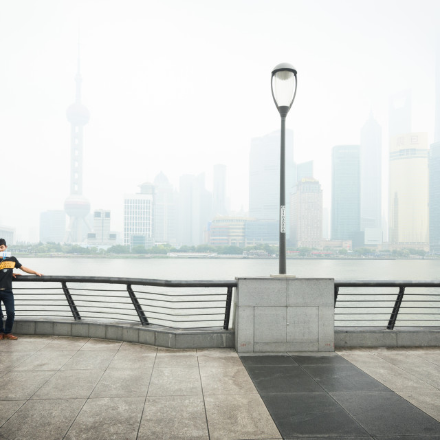 """""""SHANGHAI, CHINA - 6 JUN 2015: Two young men pose for a selfie picture in..."""" stock image"""