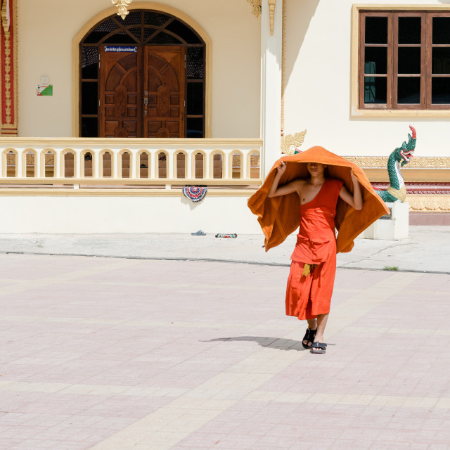 """""""VIENTIANE, LAOS - 10 OCT 2015: A young monk covers his bare head as he..."""" stock image"""