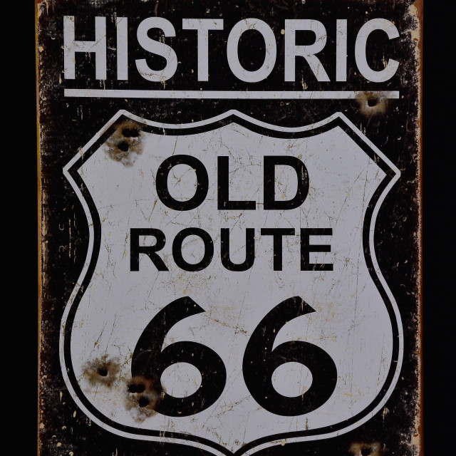 """Historic old Route 66 sign."" stock image"