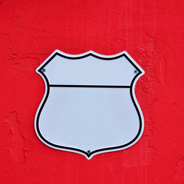 """""""American interstate highway road shield."""" stock image"""