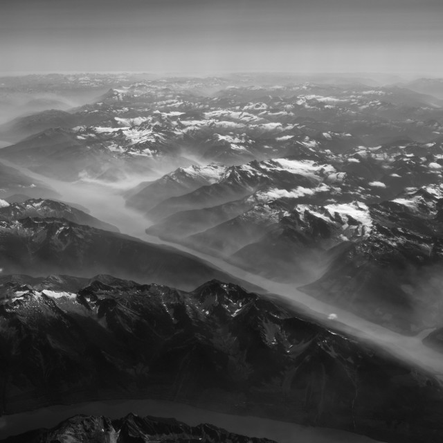 """Ariel view over the Canadian Rocky mountains, British Columbia, Canada"" stock image"