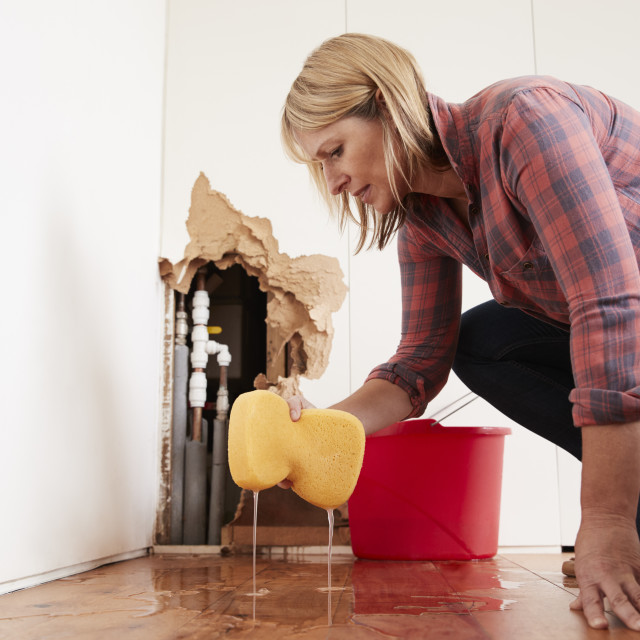 """""""Worried woman mopping up water from a burst pipe with sponge"""" stock image"""