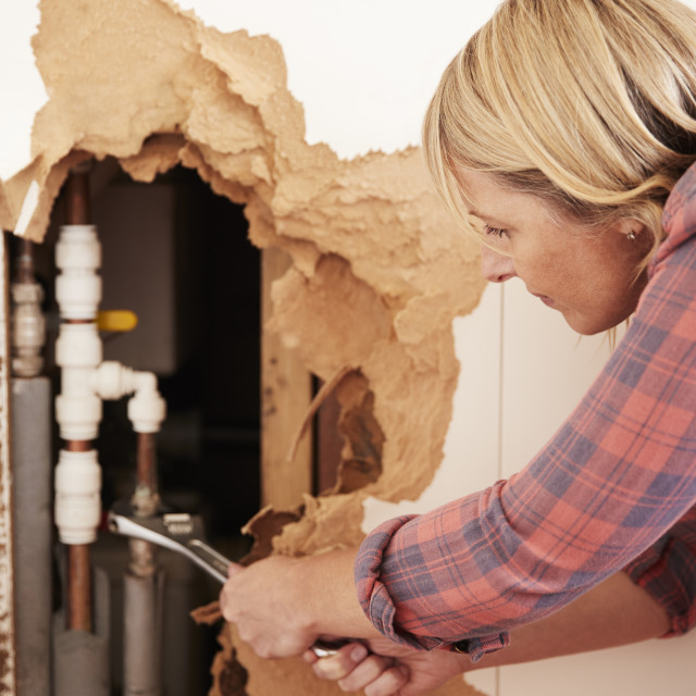 """""""Middle aged woman repairing burst water pipe with a wrench"""" stock image"""