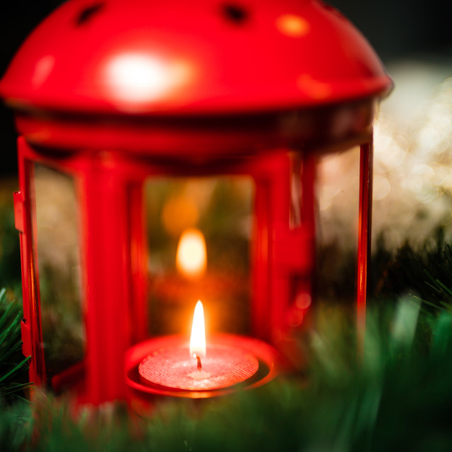 """Christmas decorations of lantern with candle"" stock image"