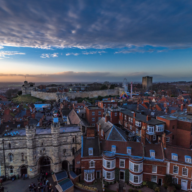 """Sunset over Lincoln Christmas Market"" stock image"