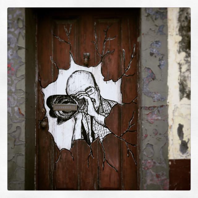 """Public Artwork on a Door"" stock image"