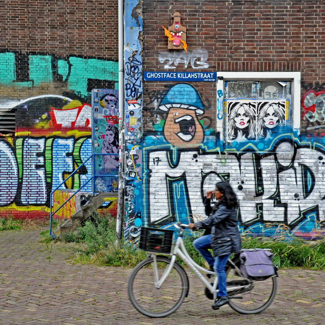 """Street art cyclist 1"" stock image"