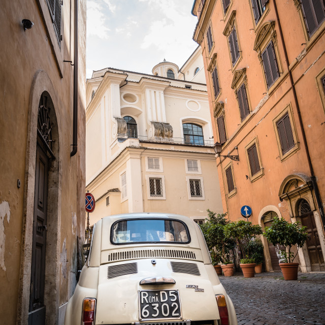 """Small car in street in Rome"" stock image"