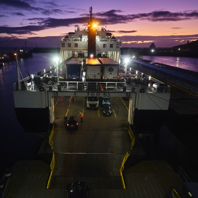 """""""Ben My Chree being loaded at dawn"""" stock image"""