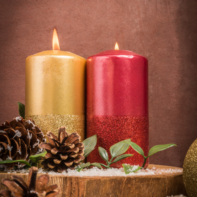 """Christmas candles and ornaments"" stock image"