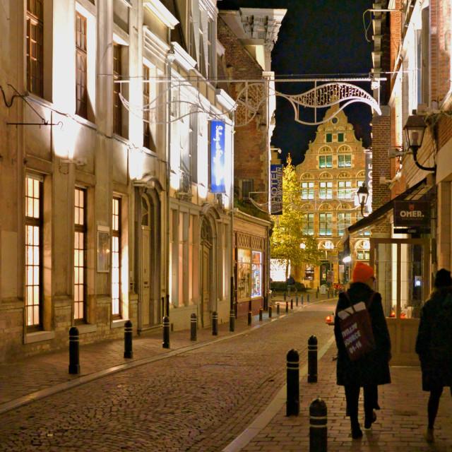 """Gent street at night"" stock image"