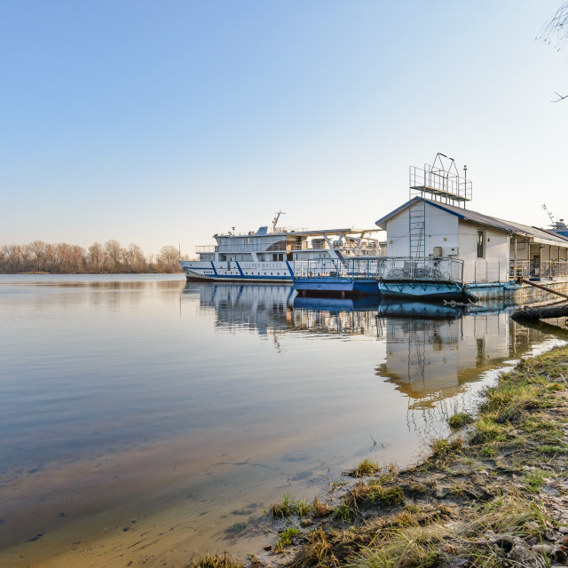 """The Silverbridge boat on the Dnieper in Kiev"" stock image"