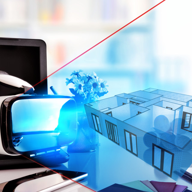 """""""Virtual reality glasses on decorator office table representation front view"""" stock image"""