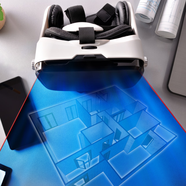 """""""Virtual reality glasses on decorator office table top representation"""" stock image"""