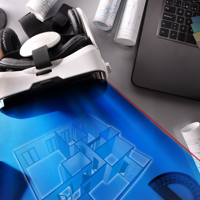 """""""Virtual reality glasses on decorator office table wirth representation top"""" stock image"""