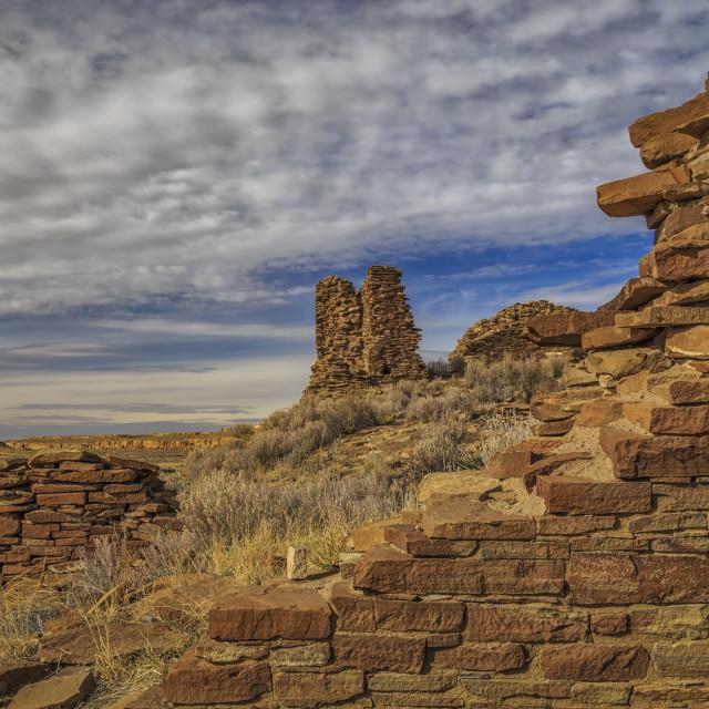 """""""Una Vida Ruins - Chaco Canyon"""" stock image"""