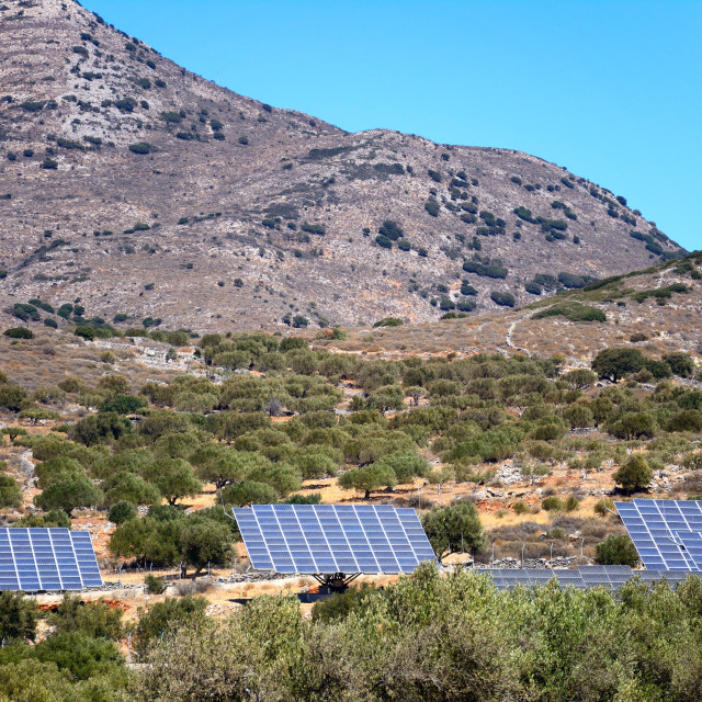 """Cretan countryside with solar panels"" stock image"