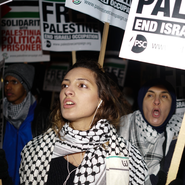 """""""Palestinian and UK National condemns President Trump's Hands off Jerusalem!,..."""" stock image"""