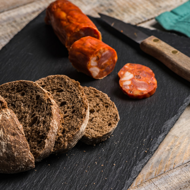 """Malt loaf bread and chorizo slices"" stock image"